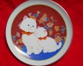 "CAT & KITTEN Small Fine Porcelian Plate    ""Lasting Memories 1984"
