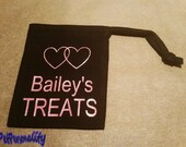 Personalised Dog Treat Bag with Linked Heart Print for Training Classes or Walkies FREE UK P&P