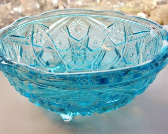Vintage blue glass bowl