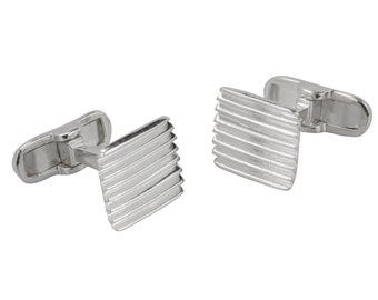 Sterling Silver Hand Made Square Corrugated Cuff Links Men's Jewellery, Fathers Day Gift, UK Seller