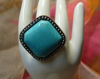 Adjustable Turquoise Statement Ring