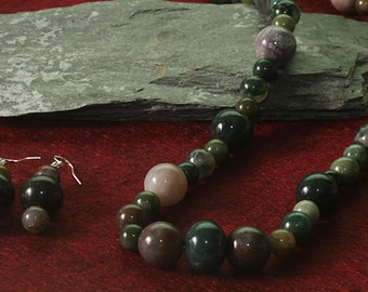 Jewelry for Bema Multi Colored Agate Stone Necklace with Earrings