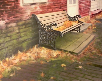 Original acrylic bench painting on canvas, colorful bench in the city, color and textured leaves, autumn art, fall painting