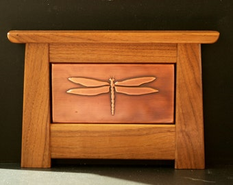 Arts and Crafts Mission Style Copper Tile Framed in Solid Black Walnut (Dragonfly Design WDF2)