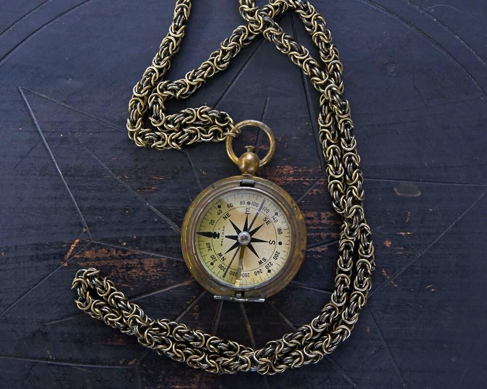 Vintage Brass Working Compass Necklace c1930s