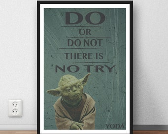 Yoda Quote - 'Do or do not, there is no try' wall art illustration poster star wars