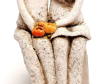 Couple Sitting Together Hand Made Ceramics Art Design