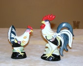 Vintage Colorful Rooster And Hen Figurine Statue, Farm House Decor, Primative Decor