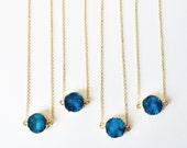 Dreamy Blue Druzy Coin Necklace