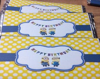 Minion birthday Candy Bar Wrapper
