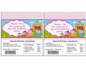 Peppa Pig birthday Candy Bar Wrapper
