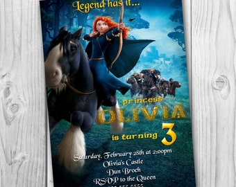 Merida Brave Invitation - BraveBirthday Party Invitation - Merida Printable - Brave Invitation - Merida Invite