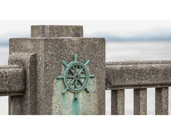 Bell Harbor Marina - Pikes Market - Fine Art Photography - Nautical Decor - Teal - Grunge - Captains Wheel - Photo Print
