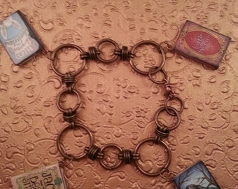 Miniature Fairy Tale Book Charms**Hanging from Unique Antique Gold Bracelet