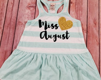 Miss August Dress, Birthday Girl Dress, Birthday Dress, Baby Girl Clothes, 1st Birthday Dress, Summer Birthday Dress , August Birthday Dress