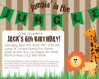 Jungle Theme Birthday Invitation - Digital