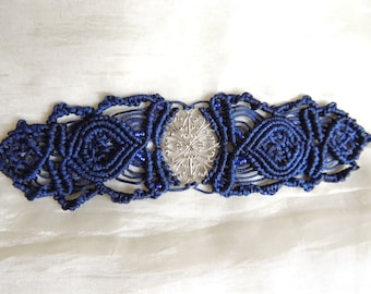Cuff bracelet  in macrame dark blue