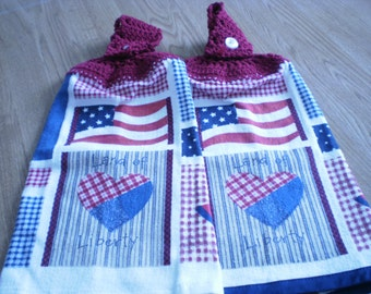 Crochet topped kitchen towel