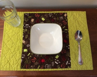 Set of 4 Quilted Placemats - Brown and Green