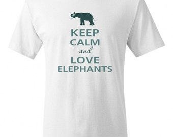 Keep Calm and Love Elephants Adult T-Shirt Tee