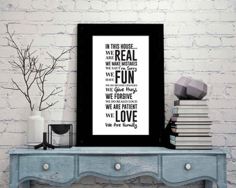 "In This House We... Family Motivational Black & White Wall Quotes on Ultra Board 24""x36"""