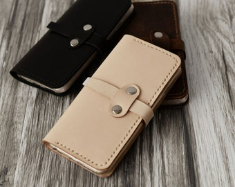 Leather IPhone 5 Case, iphone 5s case, monogram, women's / men's iPhone 5 wallet, iPhone 5s Case Wallet, Veg-tanned Leather, Nature Tan