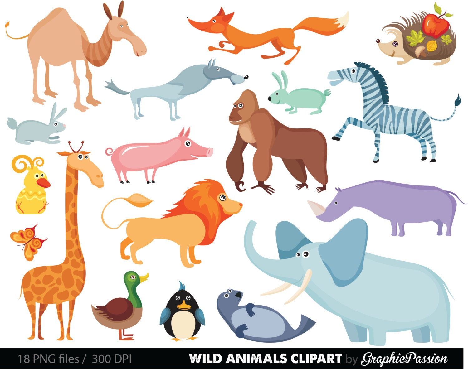 Clip Art Zoo Animal Clipart zoo animal clip art etsy jungle animals baby digital clipart safari for personal and commercial use instant download