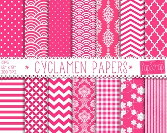 Cyclamen papers: HOT PINK PAPERS, cyclamen , pink background, damask, stripes, chevron, polka dot