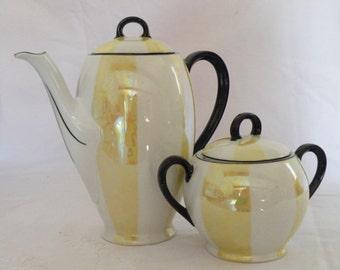 Most Beautiful Vintage Art Deco Royal EPIAG AICH Coffee pot and Sugar Bowl Lustreware