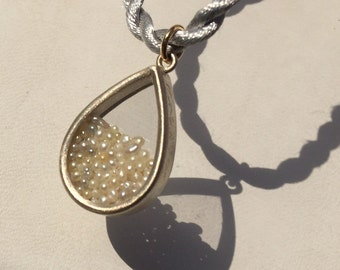 Akoya Keshi Pearl silver pendant Akoya poppy Pearl pendant