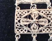 Vintage sterling silver Butterfly Daisy filgree bracelet