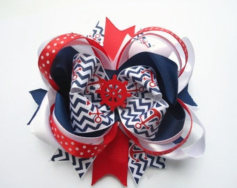 Nautical Hair Bow Nautical Hair Clip Anchor Hair Bow Nautical Hairbow Navy and Red Hair Bow Hair bows Boutique Red and Blue Anchor Hairbow