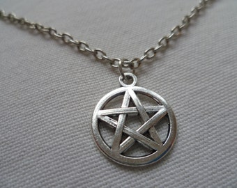 Silver Pentagram necklace, small pentacle, pagan jewelry, wiccan jewelry, charm necklace,gift,handmade, pendant, silver pentacle