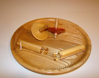 Hand Turned Wooden Platter with 2 wooden Tops and Spin assist tools