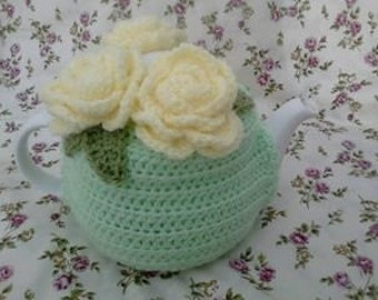 Rose posy tea cosy handmade crochet knitted perfect gift
