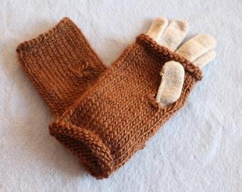 Handknit medium brown wool fingerless gloves