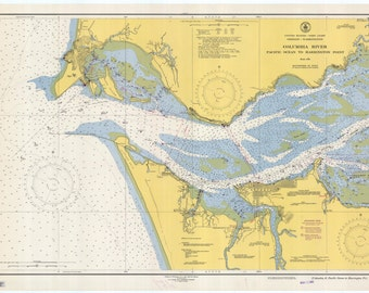 Columbia River & Astoria Oregon Historical Map 1948