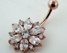 Handmade Rose Gold Plating Double Layer CZ Stone 925 Sterling Silver with Stainless Steel Belly Bars , Navel Button Rings