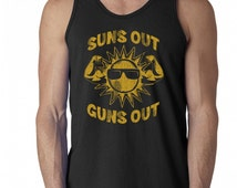 Suns Out beach wear guns out summer ocean funny muscle flex work out gym fitness sexy  - Tank Top - sleeveless apparel clothing - IIT276