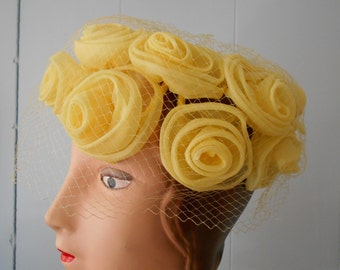 1960's Yellow Pill Box Hat with Organza Roses and Netting