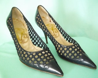 1960's Navy Blue French Stiletto Shoes