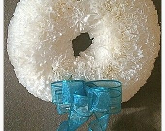Coffee Filter Wreath with Blue Bow