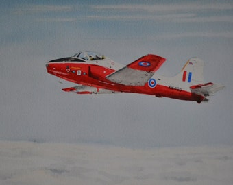 Jet Provost classic RAF jet trainer high above the clouds. A limited edition Giclee print from my watercolour painting. An aviation picture