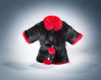 Black and Red Fur Coat Keychain Mink