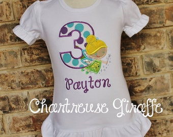 Girl's personalized Tinker Bell Inspired Birthday shirt.