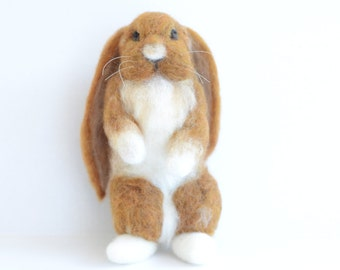 Needle Felted Bunny, Bunny Sculpture