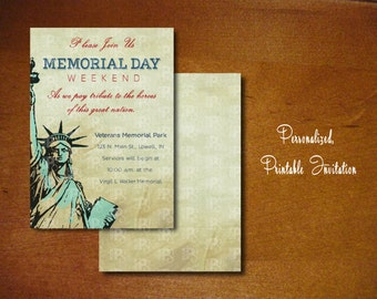 Personalized Printable Patriotic Invitations | Memorial Day | Veterans Day | 4th of July | 5x7 | Digital Card | 300 dpi | JPG or PSD