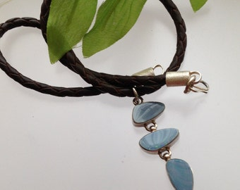 Opal pendants sterling silver leather necklace, handmade