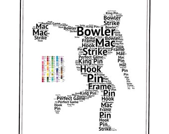 PERSONALIZED Bowler Gift Bowling Gift Word Art Bowler Gift Ideas Bowling Gifts 8 x 10 Digital Download .JPG