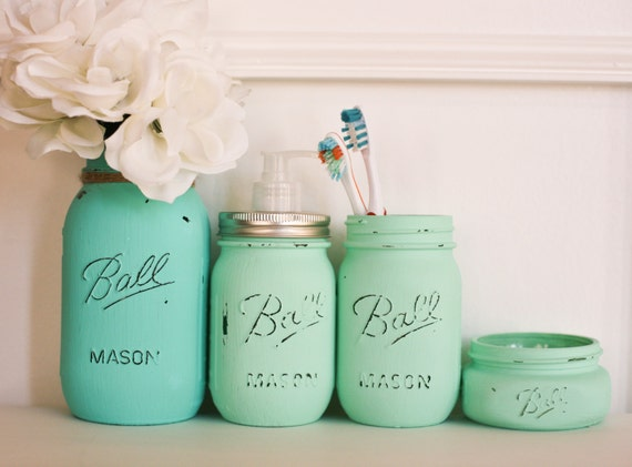 Customizable painted distressed mason jars by pinkbirdiejar for Sea green bathroom accessories